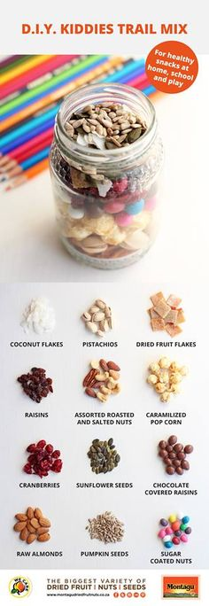 Who said trail mixes were only for grownups? Kids should have their own too! Perfect for home, school or play, be inspired by our DIY Kiddies Trail Mix ideas below. Stock up on all your little one's favourite healthy snacks at your nearest Montagu store. Trail Mix Kids, Healthy Kids, Healthy Snacks, Chocolate Covered Raisins, Raw Almonds, Dried Fruit, Pistachio, Diy For Kids, Healthy Lifestyle