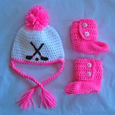 Crochet hockey hat and matching booties RESERVED FOR LilasLocker