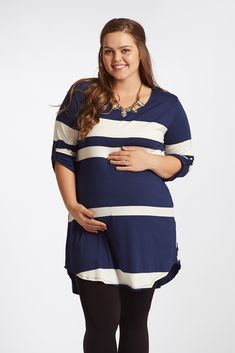 You can never go wrong with a classic striped print such as this ¾ sleeve maternity top