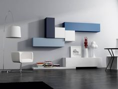 Sectional lacquered storage wall SLIM 88 Slim Collection by Dall ...