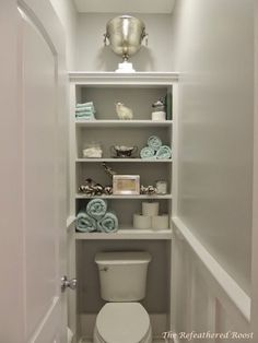 The water closet...wainscot & shelves ...also paint design regardless of color, two shades