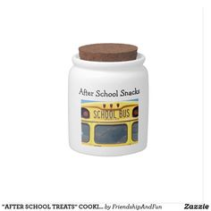 """AFTER SCHOOL TREATS"" COOKIE JAR WITH SCHOOL BUS CANDY DISH"