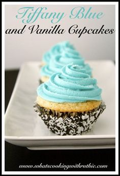 Tiffany Blue and Vanilla Cupcakes Recipe are a deliciously beautiful way to celebrate any occasion! Tiffany Blue Frosting is lovely to decorate our moist and delicious vanilla cupcakes. Blue Cupcakes, Vanilla Cupcakes, Yummy Cupcakes, Tiffany Cupcakes, Tiffany Party, Mint Chocolate Chip Pie Recipe, Mint Chocolate Chips, Cupcake Recipes, Cupcake Cakes