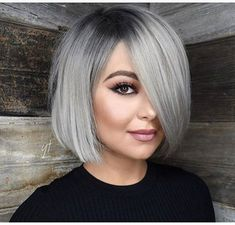 13 silver hair color ideas — celebrity silver hair dye shades shades of grey hair color chart ceresi 15 stunning … Bob Hairstyles For Round Face, Short Bob Haircuts, Short Hairstyles For Women, Cool Hairstyles, Bob Haircut For Round Face, Grey Bob Hairstyles, Scene Hairstyles, Round Face Bob, 50 Year Old Hairstyles