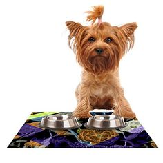 """Kess InHouse Gabriela Fuente """"Wonder"""" Pet Bowl Placemat for Dog and Cat Feeding Mat, 24 by 15-Inch, Dark Flower -- Want to know more, click on the image."""