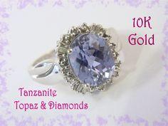 10K White Gold - 4 Ct Tanzanite Purple Topaz Cushion Cut Diamond Cocktail Ring - Size 7 - Perfect Gift - Gift Box - Estate - FREE SHIPPING by FindMeTreasures on Etsy