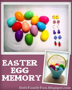 Easter Egg Memory. Play memory by putting matching things in plastic Easter Eggs!