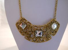 Hey, I found this really awesome Etsy listing at https://www.etsy.com/listing/204200442/bib-necklace-with-gold-tone-and