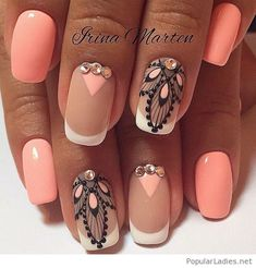 Coral manicure with some nice details