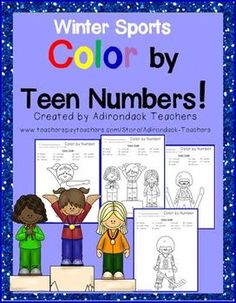 Do your kids need some practice identifying their teen numbers?     These 11 Color by Teen Number Olympic Winter Sport worksheets will give them some practice with their teen numbers and identifying their color words.     These will be a great introduction to the sports in the Winter Olympics Games for your little ones.   $2.75