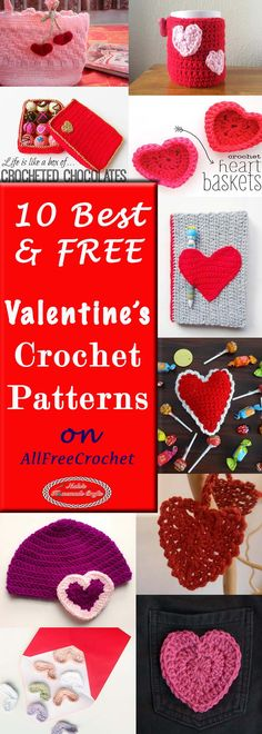 10 Best Free Valentine's Crochet Pattern on AllFreeCrochet by Nicki's Homemade Crafts ~ Crochet Flower Patterns, Crochet Designs, Crochet Ideas, Crochet Tutorials, Crochet Flowers, Holiday Crochet, Crochet Gifts, Diy Crochet, Homemade Crafts