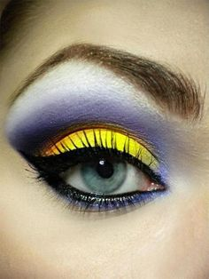 Yellow and violet eyeshadow
