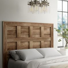 Greyleigh Riddleville Queen Panel Headboard Color: C Headboard Designs, Headboard Ideas, Diy Rustic Headboard, Wooden Bed Headboard, Diy Wood Bed Frame, Driftwood Headboard, Shiplap Headboard, Headboard With Lights, Panel Headboard