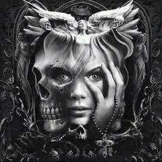 Alles in einem. Skull Girl Tattoo, Girl Face Tattoo, Skull Tattoo Design, Skull Tattoos, Tattoo Girls, Girl Tattoos, Sleeve Tattoos, Tattoo Designs, Dark Fantasy Art