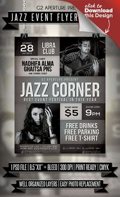 2017 flyer, club, club party, deluxe, design, effect, elegant, event, event flyer, festival, flyer, gig, glamour, jazz, jazz club, jazz event, jazz music, jazz night, jazz party, live jazz, music, night, night party, party, poster, print template, typography Jazz Event flyer templates or poster template designed to promote any kind of music event, concert, festival, party or weekly event in a music club and other kind of special evenings.   Features      1 psd File     Print Ready…