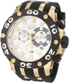 Invicta Men's 0915 Subaqua Reserve Chronograph Silver Dial Black Polyurethane Watch Invicta. $287.15. Water-resistant to 500 M (1640 feet). Swiss quartz movement. Flame-fusion crystal; 18k gold ion-plated stainless steel case; black polyurethane strap with 18k gold ion-plated stainless steel accents. Silver dial with gold tone and white hands and hour markers; luminous; unidirectional black ion-plated stainless steel bezel with white arabic numerals; tachymeter scale on in...