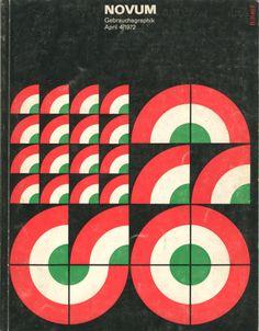 Several covers of the German graphic design magazine, Gebrauchsgraphik (later titled Novum Gebrauchsgraphik). Retro Graphic Design, Graphic Design Posters, Graphic Design Inspiration, Graphic Art, Design Vintage, Layout Design, Shape Design, Pattern Design, Print Design