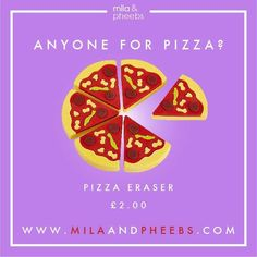 I know it's only Thursday but I really want a takeaway! I'm going to wait it out (I mean it's only 12 hours away) but I'm already thinking.... Pizza!!!! Nom Nom!!! 🍕🍕🍕  http://www.milaandpheebs.com/product/pizza-slices-eraser-6-slices/