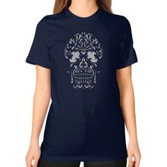 Art nouveau skull Unisex T-Shirt (on woman)