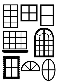 printable window template for AGD room I'm making Silhouette Cameo 4, Gingerbread House Patterns, Dollhouse Windows, Wood Block Crafts, House Template, Window Cards, Templates Printable Free, Printables, Putz Houses