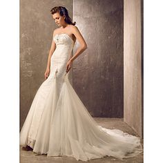 Trumpet/Mermaid Sweetheart Court Train Tulle And Lace Wedding Dress (945604) – USD $ 127.99