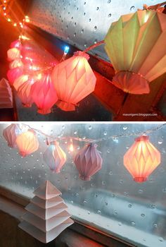 origami - farolitos y árbol de Navidad plegados en papel