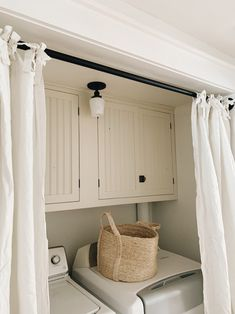Laundry Room Curtains, Curtains For Closet Doors, Laundry Room Doors, Laundry Closet Makeover, Laundry In Closet, Closet Door Alternative, Door Alternatives, Hidden Laundry, Built In Cabinets