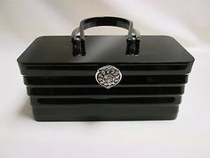 Vintage-Wilardy-Black-Lucite-Art-Deco-Style-Box-Purse-w-Jeweled-Latch
