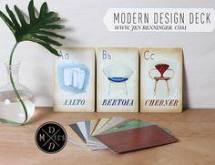 Limited Edition Modern design deck actual flash card set - Eames - mid century modern. $49.99, via Etsy.