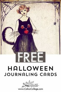 """4 Large Printable Halloween Journaling Cards. These cards would be a great addition to a journal created using the """"Hallowed Gothic"""" Junk Journal Kit. The complete printed page size is 8.5x11 inches (A4) High-quality resolution 300DPI in JPG format. #halloween #junkjournalephemera #junkjournalideas #printables #vintage #ephemera #halloweenephemera Halloween Coloring Pages Printable, Printable Halloween Decorations, Halloween Paper Crafts, Halloween Labels, Vintage Halloween, Journal Cards, Junk Journal, Journal Ideas, Bullet Journal"""
