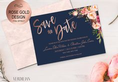 Save The Date Template - Navy Rose Gold Floral Blush Peonies Bouquet - Printable DIY PDF editable te Floral Save The Dates, Wedding Save The Dates, Save The Date Cards, Blush Peonies, Peonies Bouquet, Blush Bouquet, Rose Wedding, Wedding Sets, Wedding Wall