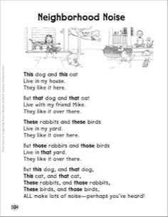 Neighborhood Noise (This, That, These, Those): Sight Words Poem