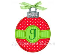 Christmas Ornament Round Band Applique Machine Embroidery Design Holiday INSTANT DOWNLOAD