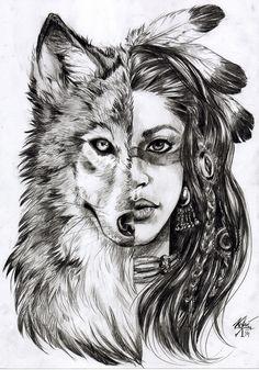 Tattoo Finka wolf woman