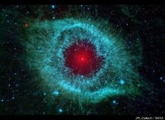 The Helix nebula  Feel like you are being watched? This infrared image from NASA's Spitzer Space Telescope shows the Helix nebula, a cosmic starlet notable for its vivid colors and eerie resemblance to a giant eye.