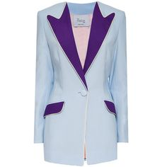 Hebe Studio - The Hebe Suit Powder Blue Boyfriend Blazer ($400) ❤ liked on Polyvore featuring outerwear, jackets, blazers, blue blazer, boyfriend blazer, button jacket, blazer jacket and one-button blazer