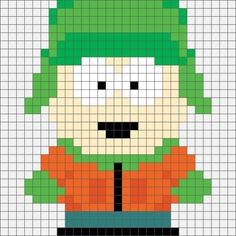 Four South Park Hama, Perler and Cross Stitch Designs. Beaded Cross Stitch, Crochet Cross, Cross Stitch Charts, Cross Stitch Designs, Cross Stitch Embroidery, Cross Stitch Patterns, Melty Bead Patterns, Perler Patterns, Hama Beads