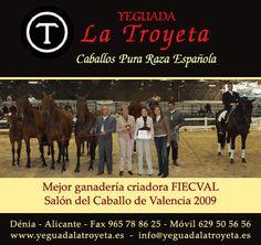 Un viejo anuncio de la ganadería de caballos de Pura Raza Española