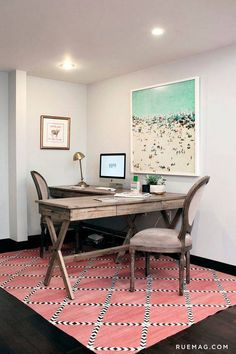 Shared Home Office Ideas office with pink rug
