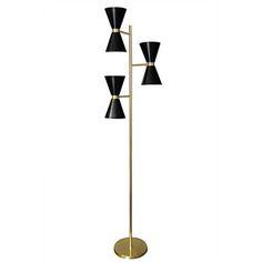 Brass Three Shade Floor Lamp