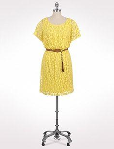 Plus Size Belted Circle Pattern Lace Dress | Dressbarn