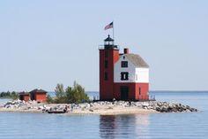 Round Island light house, Mackinac Island, Michigan.