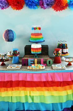 Beautiful rainbow party table #rainbow #party #desserttable