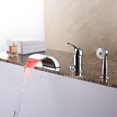 Modenrn Single Handle Brass Roman Tub Waterfall Handshower Included Bathtub Faucet --FaucetSuperDeal.com