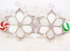 Two Winter Wonderland Snowflakes by MoreThanColors on Etsy, $50.00