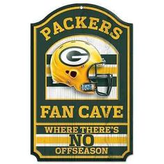 """GREEN BAY PACKERS FAN CAVE THERE'S NO OFFSEASON WOOD SIGN 11""""X17'' NEW WINCRAFT"""