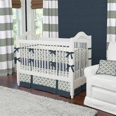 Navy and Gray Quatrefoil Crib Bedding | Carousel Designs