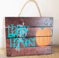 Fall Halloween Sign Decor  *Happy* *Harvest* *pumpkin* *Autumn* *table* *shelf…