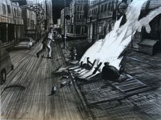 """Robert Birmelin, """"Fire on 7th Avenue"""" (2010), pencil, ink, watercolor, acrylic on paper, 22 x 30 inches"""