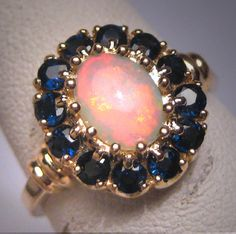 Antique Australian Opal Sapphire Ring Vintage by AawsombleiJewelry
